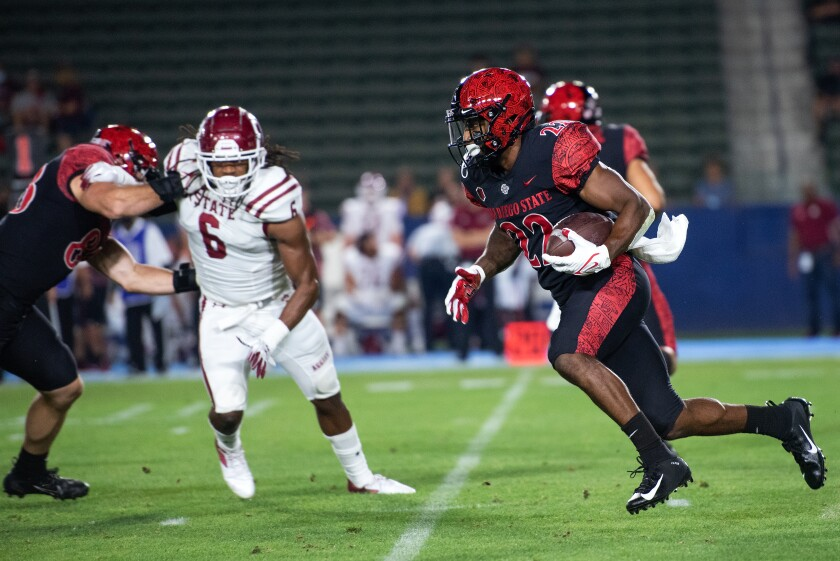 SDSU running back Greg Bell had a game-high 165 yards rushing on 20 carries, with a 23-yard touchdown.