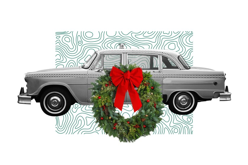 Illustration of car with wreath