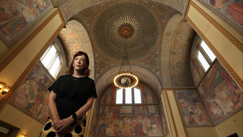 """Susan Orlean at the Central Library in downtown L.A. Her latest, """"The Library Book,"""" tops our bestseller list."""