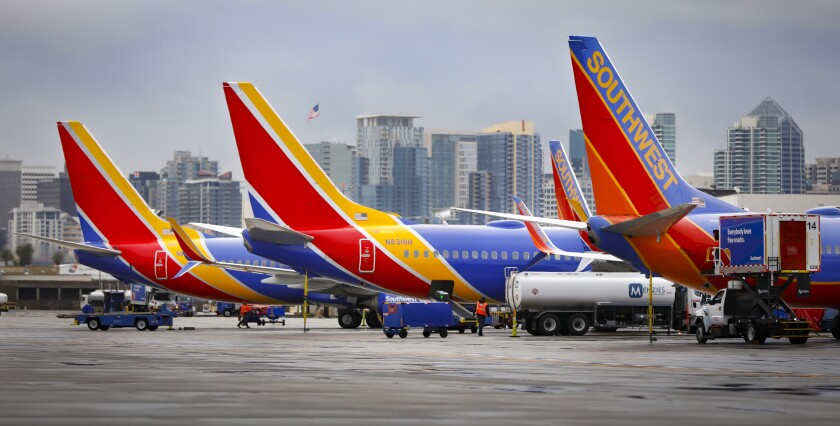 Southwest Airlines jets at San Diego airport