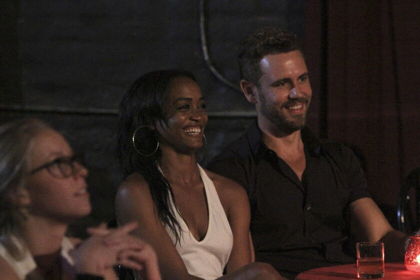 """Rachel Lindsay and Nick Viall in a scene from """"The Bachelor."""""""
