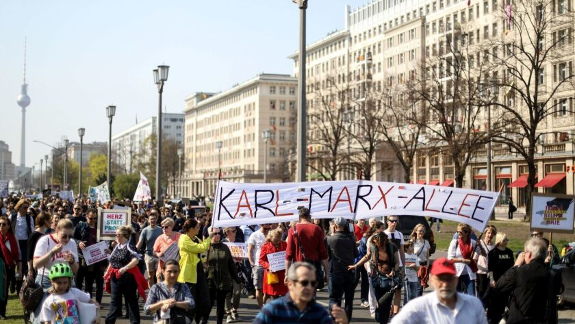 A demonstration against rent hikes in Berlin in April 2019.