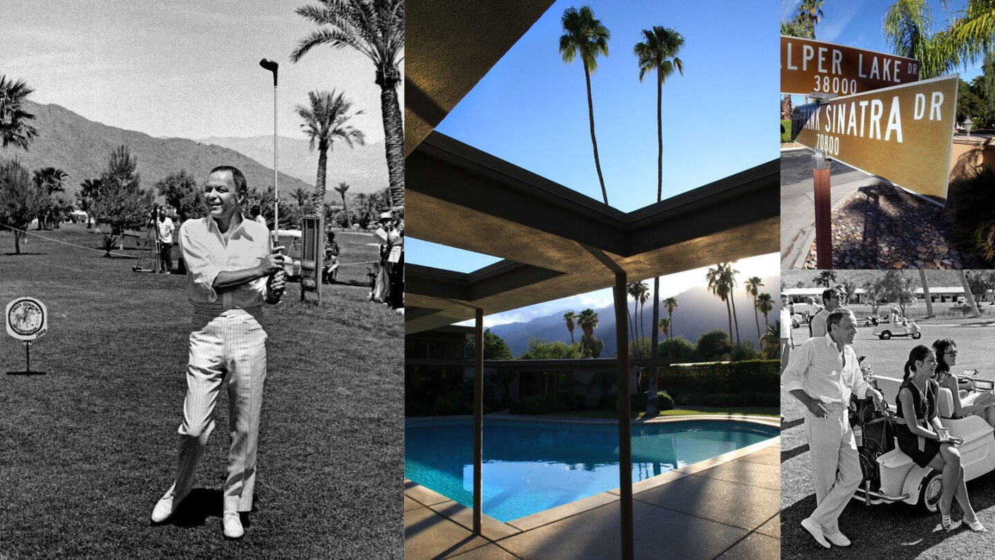 From left, clockwise: Frank Sinatra at Palm Springs Golf Course in 1969, Sinatra's Twin Palms home, a street named after him in Rancho Mirage and Frank Sinatra at the Palm Springs Golf Course.