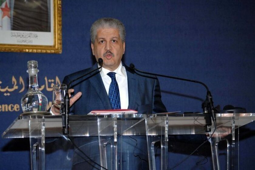 Algerian Prime Minister Abdelmalek Sellal speaks during a news conference in Algiers on Monday about the attack on In Amenas gas complex,