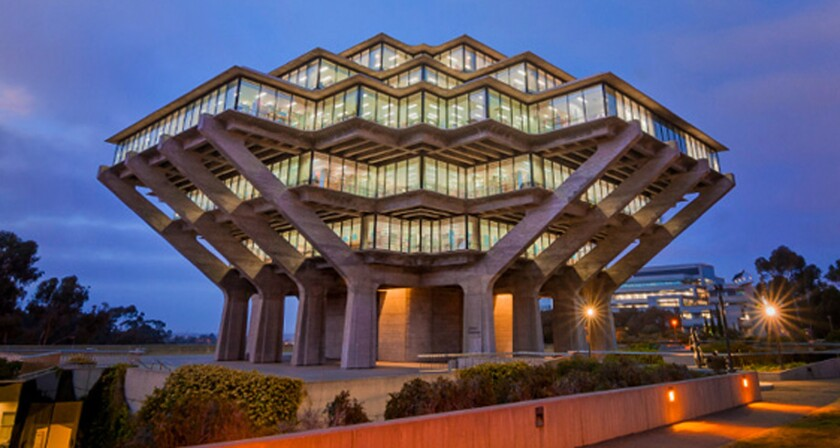 The main library at UC San Diego,where the numbers of international students is rising.