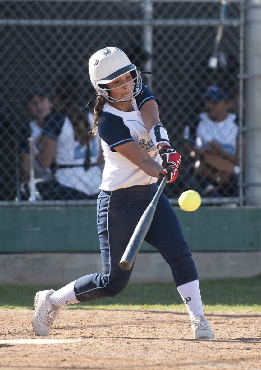 Corona del Mar's Sydney Walls hits a double during an 8-2 win in the final of the Battle at the Beac