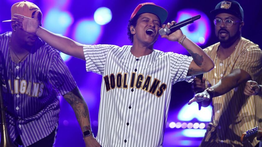 """Bruno Mars performs """"Perm"""" at the BET Awards at the Microsoft Theater on Sunday, June 25, 2017, in L"""