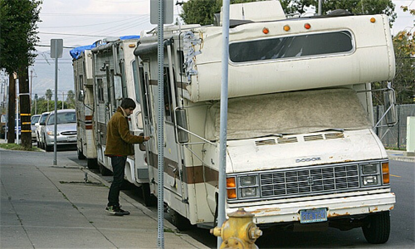 Venice is a popular spot for parked motor homes.