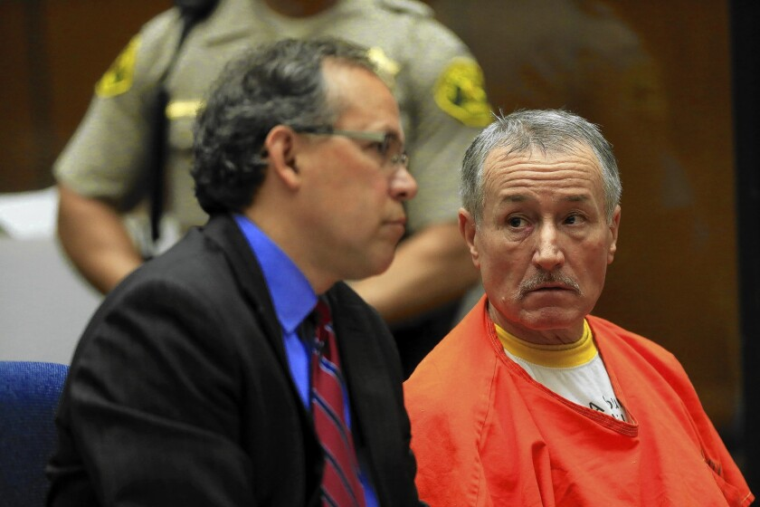 Former Miramonte Elementary School teacher Mark Berndt, right, appears in L.A. County Superior Court with attorney Manny Medrano last year.