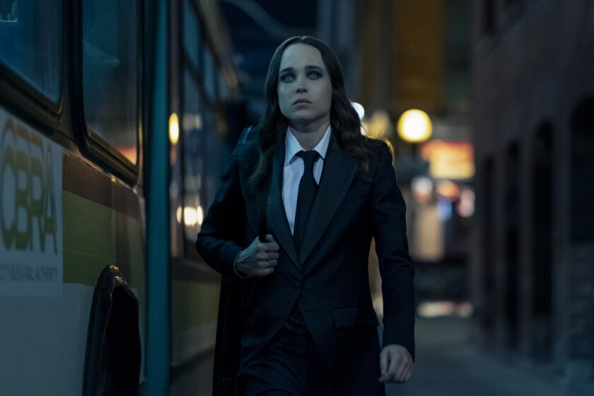 """Ellen Page, with her """"really, really spooky"""" eyes in """"The Umbrella Academy."""" Christos Kalohoridis / Netflix"""