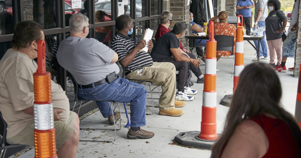 Number of laid-off workers seeking jobless aid stuck at 1.3 million