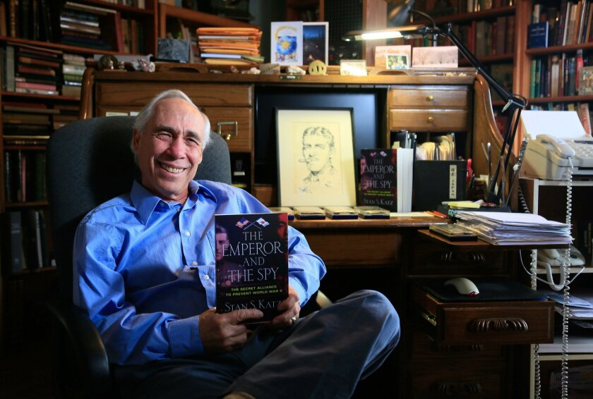 "Stan S. Katz, author of ""The Emperor and The Spy: The Secret Alliance to Prevent World War II,"" in his Oceanside office. A drawing of the book's subject, Col. Sidney Mashbir, can be seen behind him on the desk."