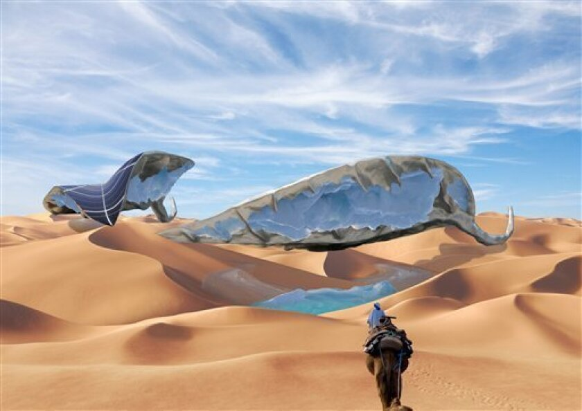 In this handout image provided by Ap Verheggen, a digital artist impression shows a solar panel installation in the desert with ice-making capabilities. Take the design of a leaf, nature's master at absorbing the sun's energy, and cover its surface with solar cells.