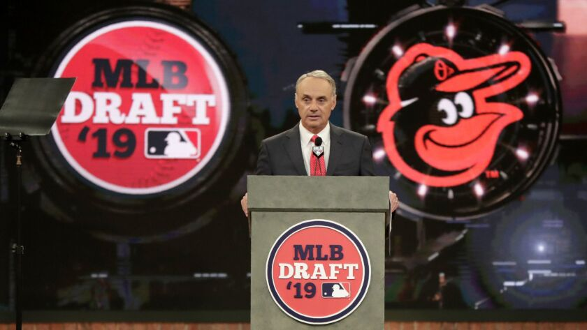 MLB Commissioner Rob Manfred announces the No. 1 selection by the Baltimore Orioles in the first round of the MLB draft on Monday.