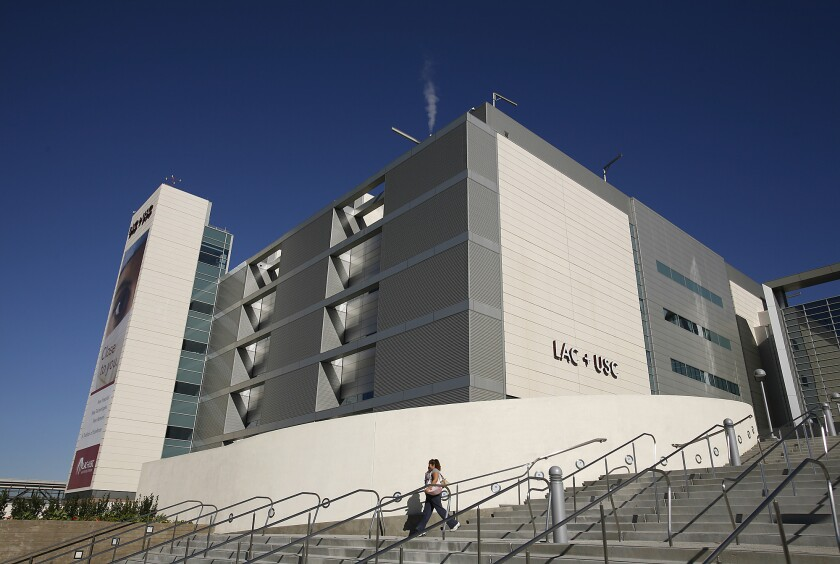 The main hospital of the Los Angeles County-USC Medical Center in Boyle Heights is shown.