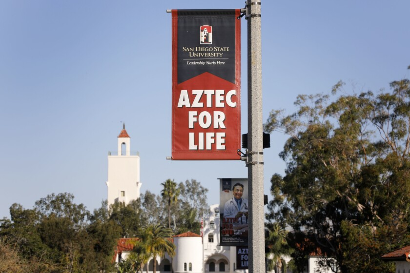 Aztec for Life banners along Campanile Walkway that leads to Hepner Hall at San Diego State University.