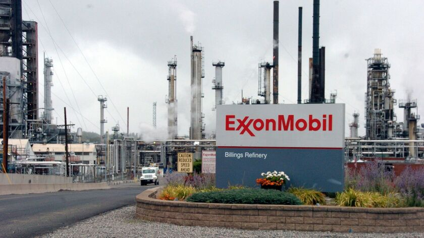 FILE - This Wednesday, Sept. 21, 2016, file photo shows Exxon Mobil's Billings Refinery in Billings,