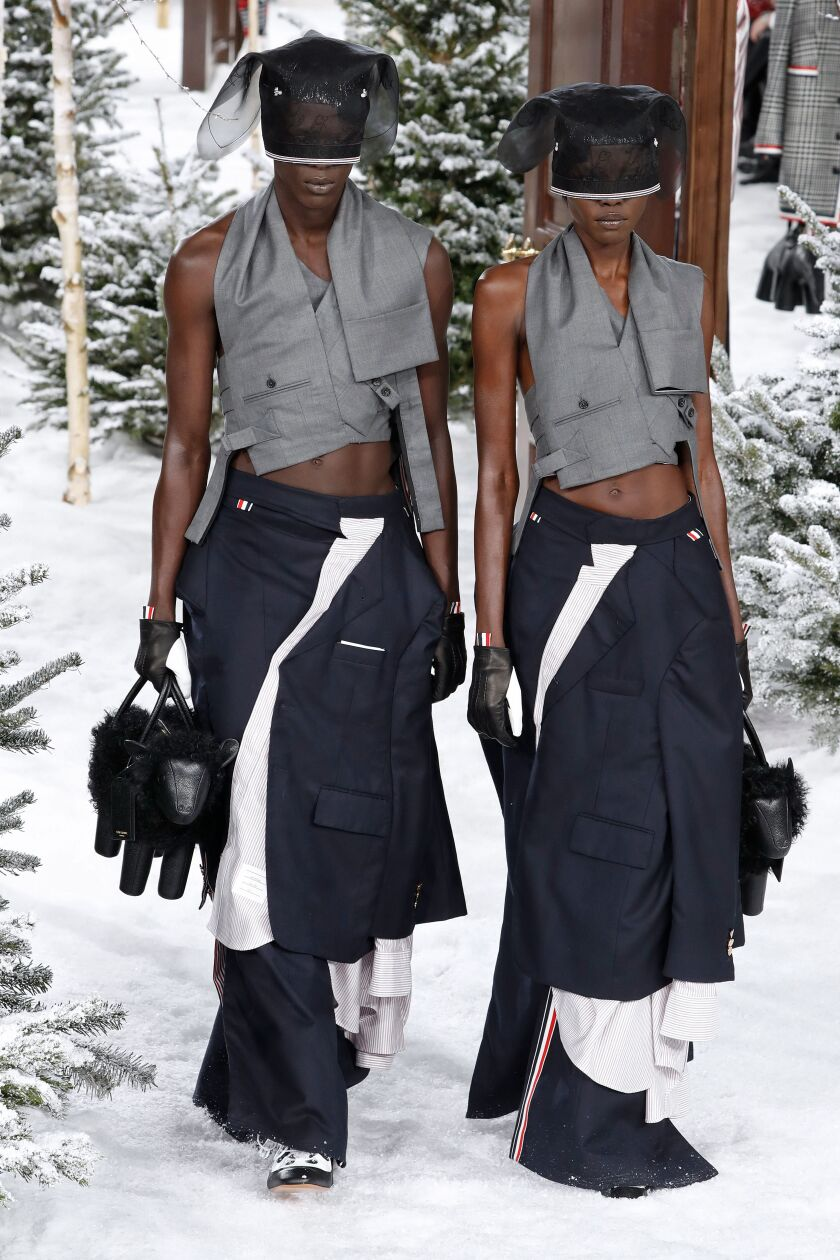 The bottoms are tops and the tops are bottoms in a pair of reconstructed fall and winter 2020 Thom Browne looks from the March 2 runway show during Paris Fashion Week.