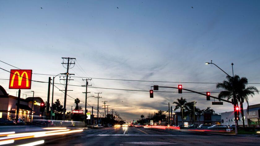 COMPTON, CA - JANUARY 13: Rosecrans Avenue, which cuts through South LA's Compton, is perhaps ubiqui