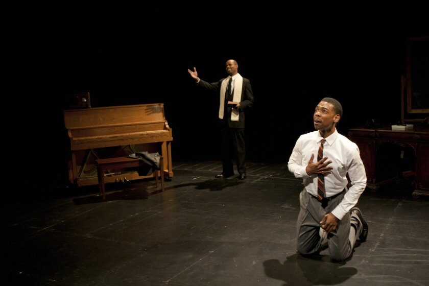 """Jacques C. Smith and playwright Michael Benjamin Washington in La Jolla Playhouse's DNA New Work Series workshop of """"Blueprints to Freedom: An Ode to Bayard Rustin."""""""