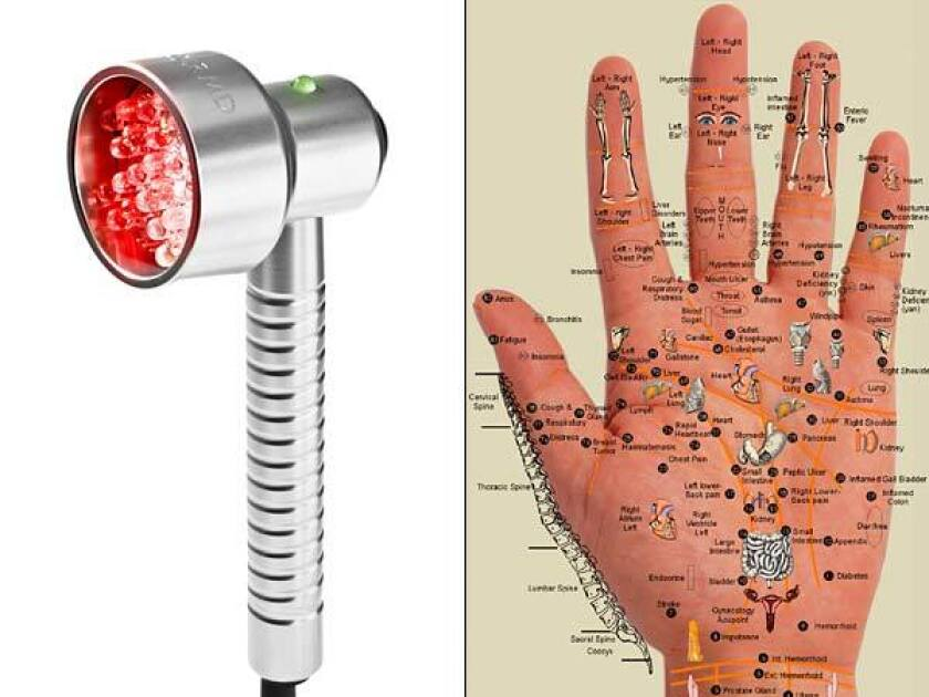 While some gadgets and devices really do deliver on their promises, others seem to owe their entire existence to wishful thinking and clever marketing, like the Baby Quasar, left, and the Aculife Therapist Deluxe, a do-it-yourself acupuncture device.