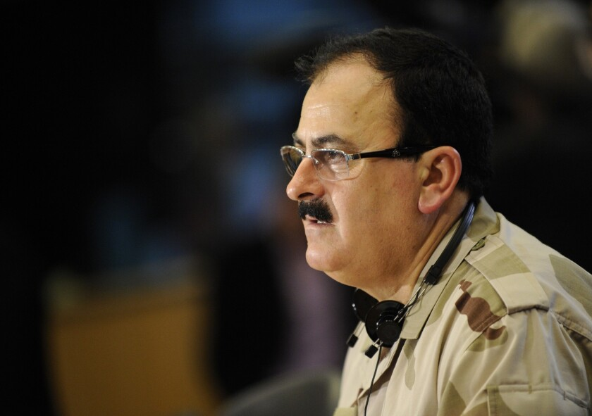 This file photo taken on March 6, 2013, shows the chief commander of the rebel Free Syrian Army, Brig. Gen. Salim Idriss, speaking during a news conference at the European Union Parliament in Brussels.