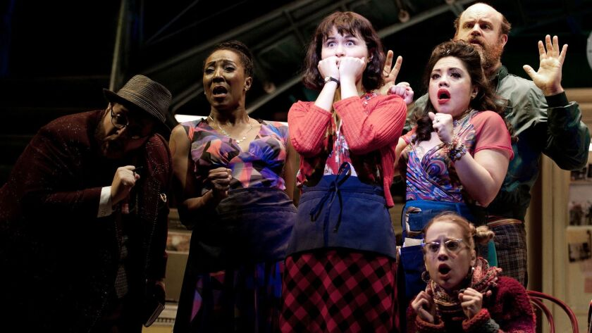 """Phillipa Soo and the cast of """"Amélie, A New Musical"""" at the Ahmanson Theatre in Los Angeles."""