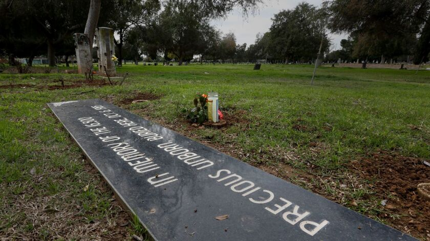 Two roses and a prayer candle adorn a grave for more than 16,500 aborted fetuses at the Odd Fellows Cemetery in East Los Angeles.