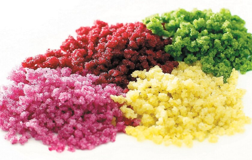 Among Fresh Origins' new products are these crunchy herb and flower crystals, which are  crystallized with sugar.