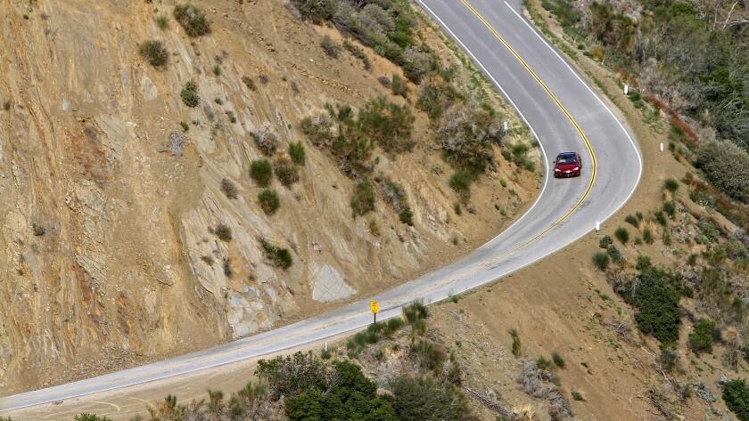 A Tesla Model S on a highway