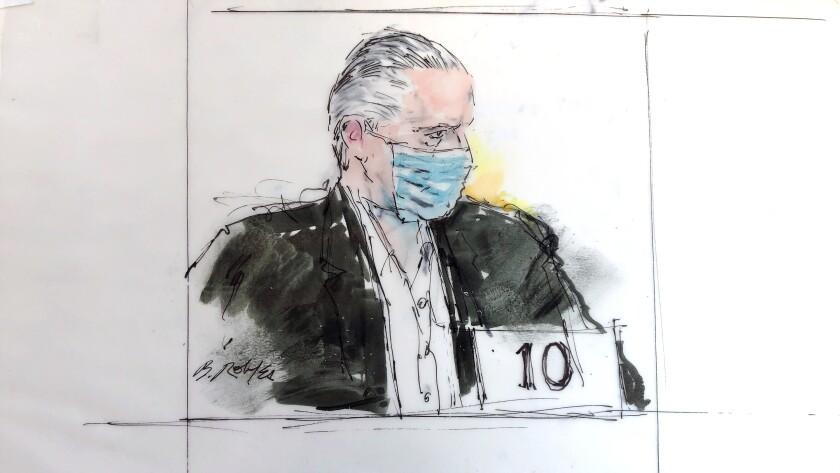Court artist's sketch of former Mexican defense secretary Gen. Salvador Cienfuegos Zepeda