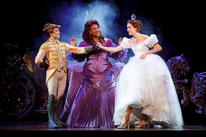 "Adrian Arrieta, Kecia Lewis and Paige Faure (left to right) in the national tour of ""Rodgers + Hammerstein's Cinderella."""