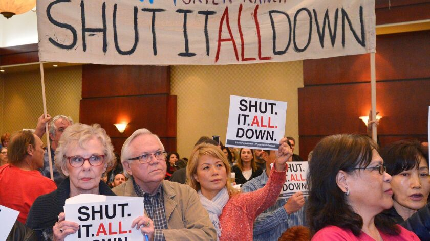 People march through the ballroom at the Woodland Hills, Calif., Hilton on Feb. 2, 2017 calling for the permanent closure of the Aliso Canyon natural gas storage field.