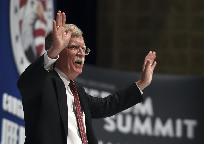 FILE - In this May 9, 2015, file photo, former United Nations Ambassador John Bolton speaks during the Freedom Summit the Freedom Summit in Greenville, S.C. Bolton will announce, Thursday, May 14, whether he's getting in the race, said spokesman Garrett Marquis. (AP Photo/Rainier Ehrhardt, File)
