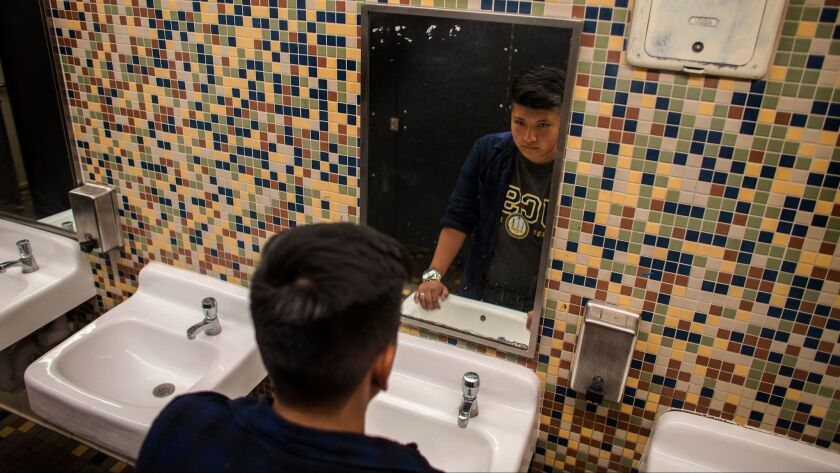 Transgender student Alonzo Hernandez, 17, led the movement for a gender-neutral bathroom at Santee Education Complex this year. After seeing Trump win the election Tuesday, he plans to continue fighting for his rights.