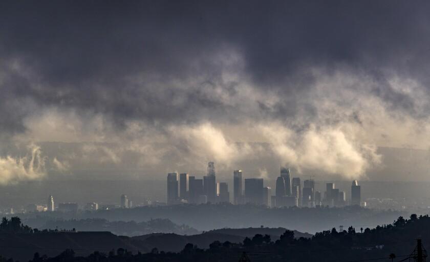 A storm rolls through the Los Angeles Basin last week