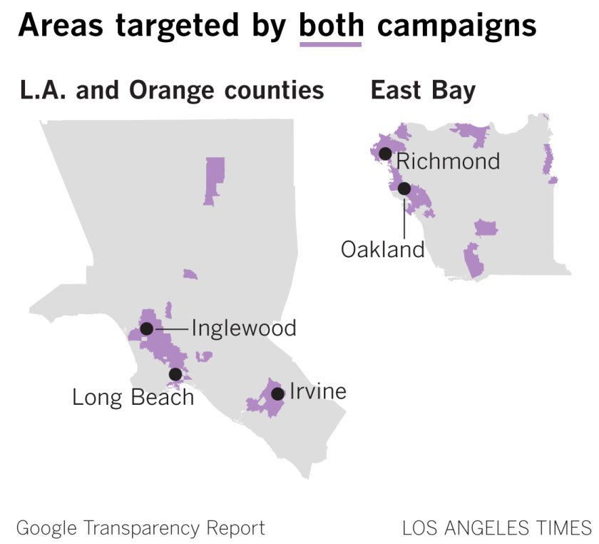 Maps of L.A., Orange County and the east Bay Area are shaded around Inglewood, Long Beach, Irvine, Oakland, Richmond.