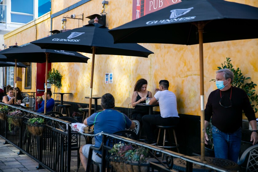 Diners take in a meal on the patio at Princess Pub & Grille on Monday, Dec. 21, 2020 in San Diego, CA.