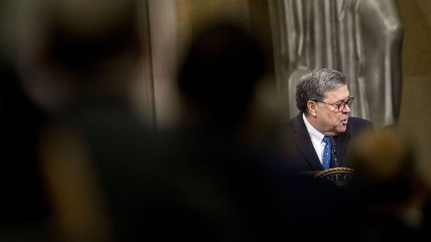 Attorney General William Barr speaks during a ceremony in Washington on May 9.