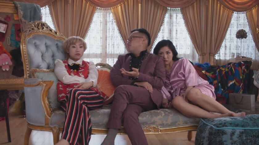 "Awkwafina stars alongside Nico Santos and Constance Wu in the adaptation of the acclaimed novel ""Crazy Rich Asians."""