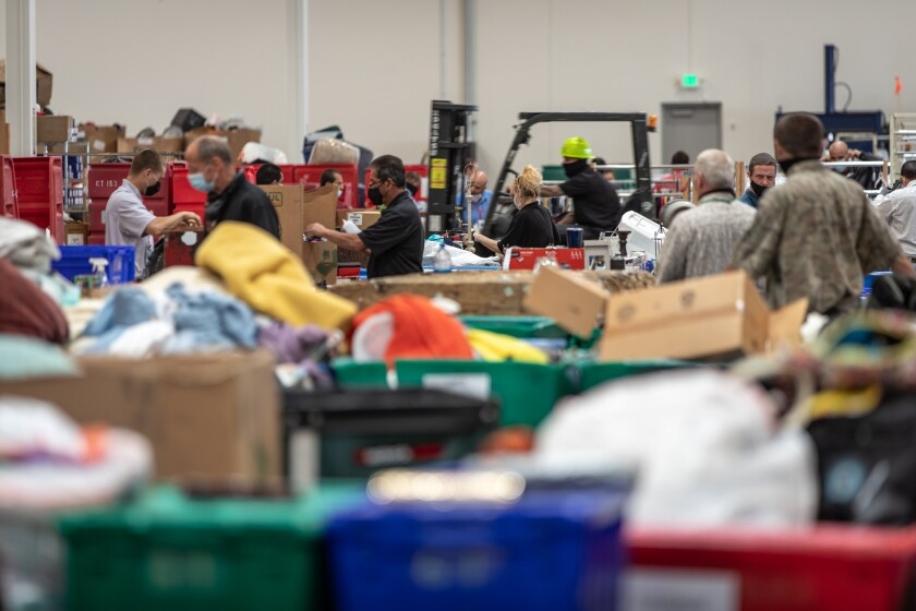 Inside the new 8,500 square-foot Salvation Army warehouse in Otay Mesa on Tuesday.