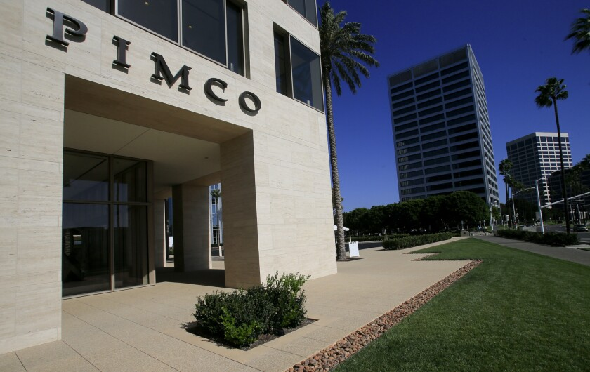 A building with Pimco's name over the entry