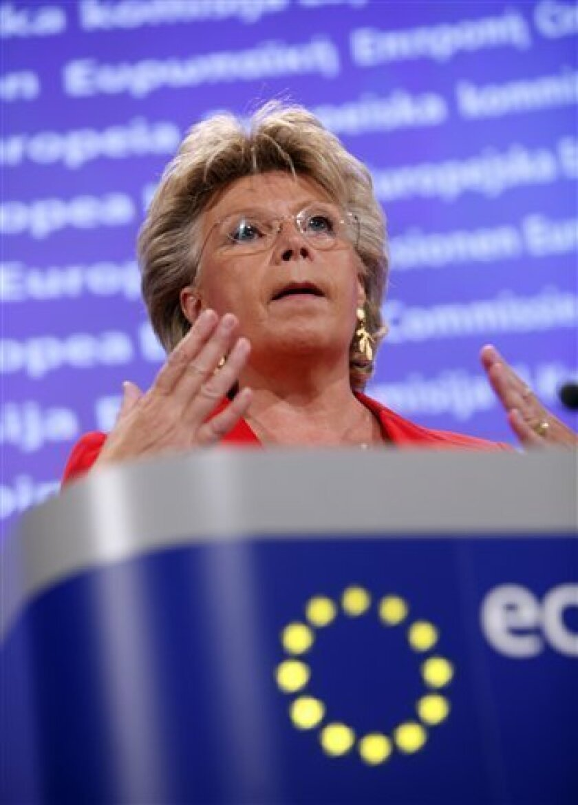 "European Commissioner Vice President and Commissioner for Justice Viviane Reding speaks during a media conference at EU headquarters in Brussels, Tuesday, Sept. 14, 2010. Reding threatened France with legal action over the mass expulsions of Roma. France's deportations of Gypsies are ""a disgrace"" a"