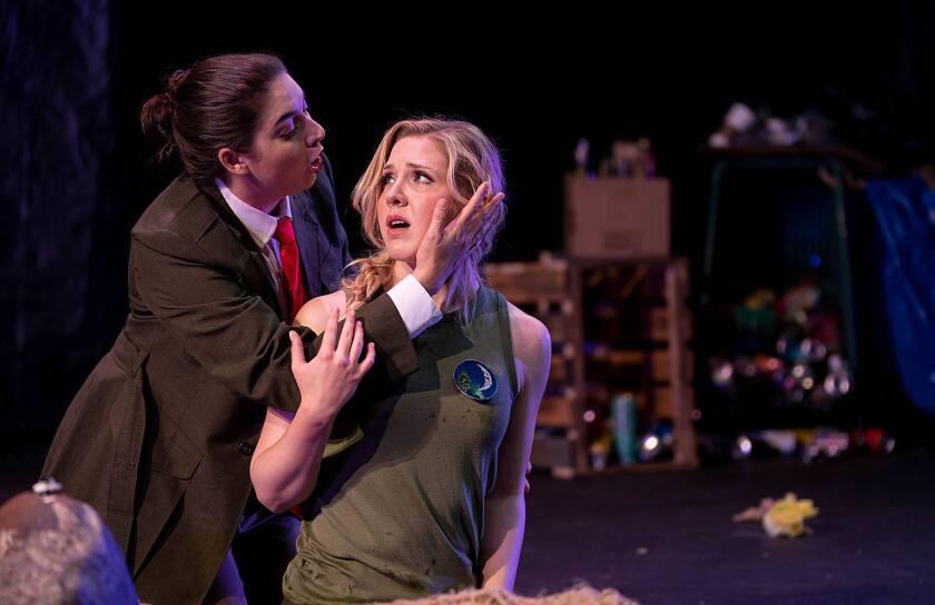 "Kira Dills-DeSurra as Diana, left, and Amanda Austin as Calisto in Opera NEO's ""La Calisto."""