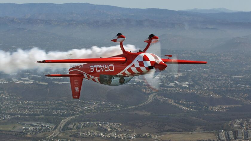 Stunt pilot Sean Tucker took Hannah Hollinger, 16, of El Cajon on a flight at the MCAS Miramar Air Show on September 27, 2018. The flight was part of the EAA Young Eagle flight program which introduces kids to flight. Tucker is the chairman of the EAA Young Eagles.