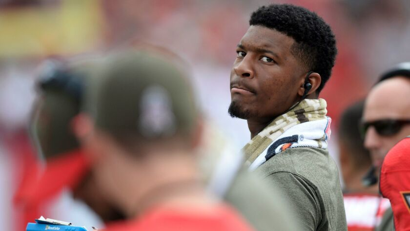 injured Tampa Bay Buccaneers quarterback Jameis Winston during the first half of an NFL football gam
