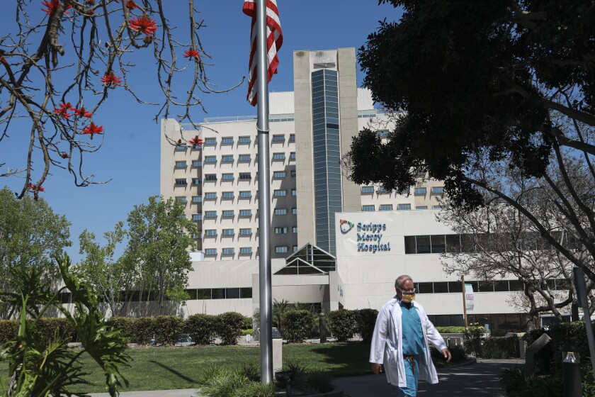 View of Scripps Mercy Hospital San Diego in Hillcrest on Monday, May 3, 2021.