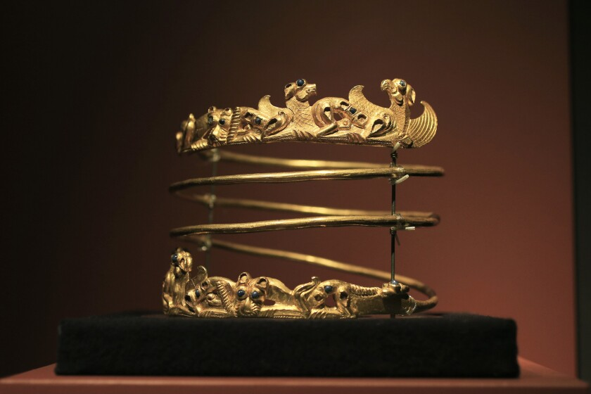 A spiraling torque from the 2nd century, an object in the exhibition at Amsterdam's Allard Pierson Museum. The pieces in the exhibition were borrowed from Crimea before the Ukrainian territory was seized and annexed to Russia.