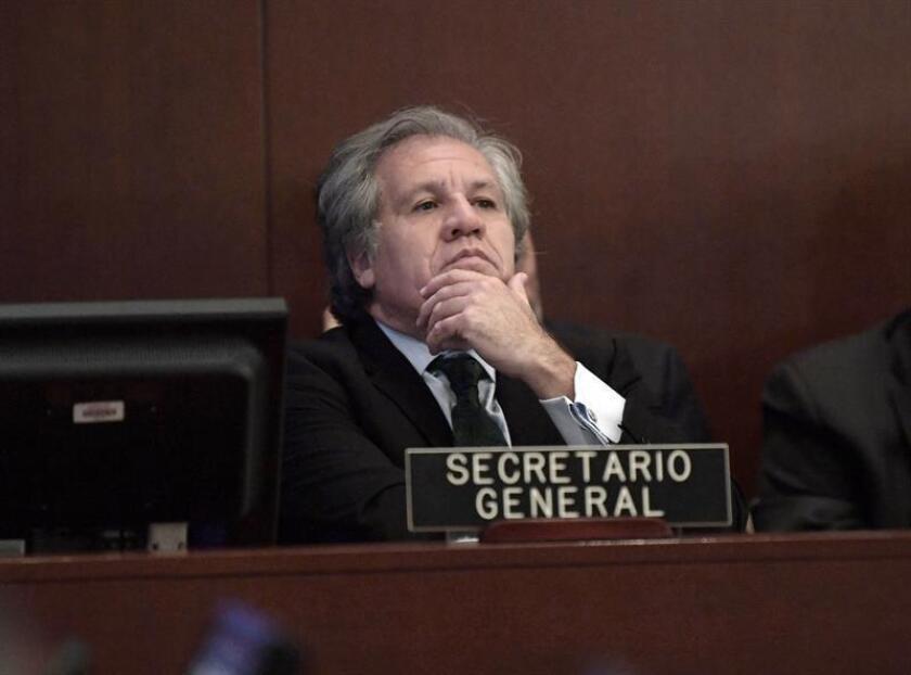 El secretario general de la Organización de los Estados Americanos (OEA), Luis Almagro, habla durante una sesión extraordinaria sobre Venezuela celebrada hoy, viernes 23 de febrero de 2018, en la sede de la Organización de los Estados Americanos (OEA), en Washington (EE.UU.). EFE