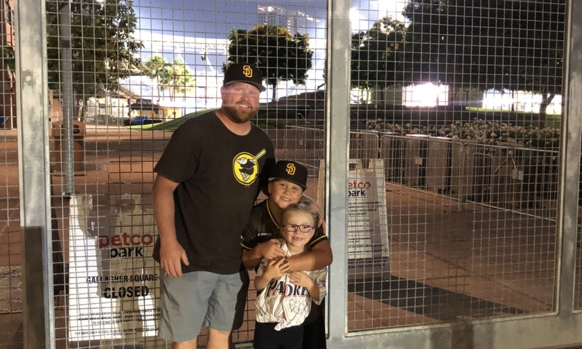 "Bret Moutaw was joined by son Addison, daughter Ivy to sing ""Take Me Out to the Ballgame"" during the seventh-inning stretch."